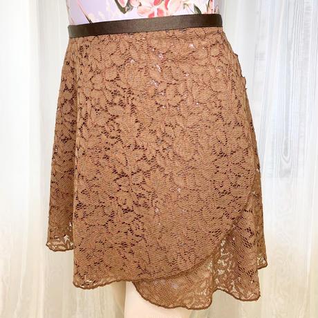 【ラップスカート 】ロングスクロール 38cm丈 エレーヌレース ブラウン<20045>