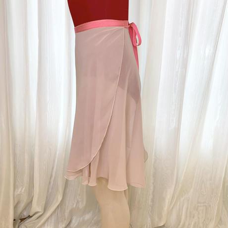 【ラップスカート 】シフォン バックテイル ロングスクロール43cm丈 サーモン<20021>