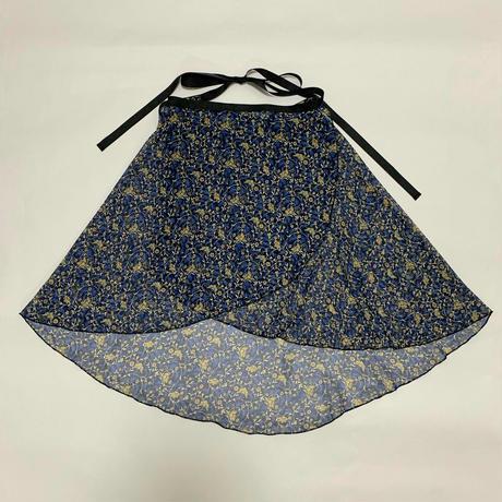 バックテイルラップスカート リトルフラワー ブルー