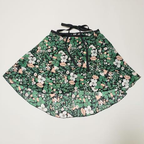 バックテイルラップスカート グリーンフラワー