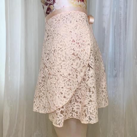 【ラップスカート 】ロングスクロール 38cm丈 エレーヌレース ベビーピンク<20044>