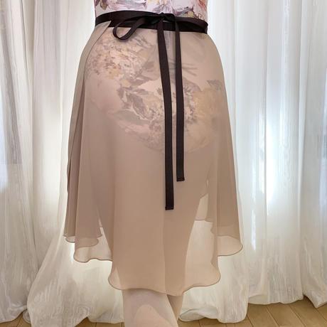 【ラップスカート 】シフォン バックテイル ロングスクロール43cm丈 ベージュ<20061>