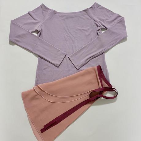 【Sylphynes】シルフィーヌ    セレクション 数量限定セット④-J ラウンドネック長袖Tシャツ+ラップスカート