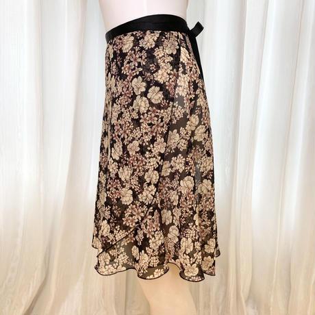 【sylphynes】バックテイルラップスカート ロングスクロール43cm丈 ハイドレンジアブラック<20124>