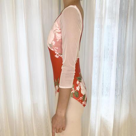 【スカーレット】Vネックリボン 5分袖レオタード<10192>