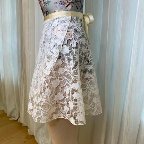 【ラップスカート 】チューリップレース 38cm丈 ホワイト<20083>