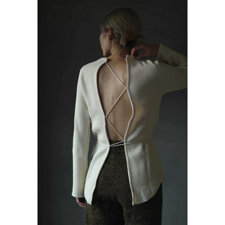 Back Lace up Waffle Tops(ls124T)