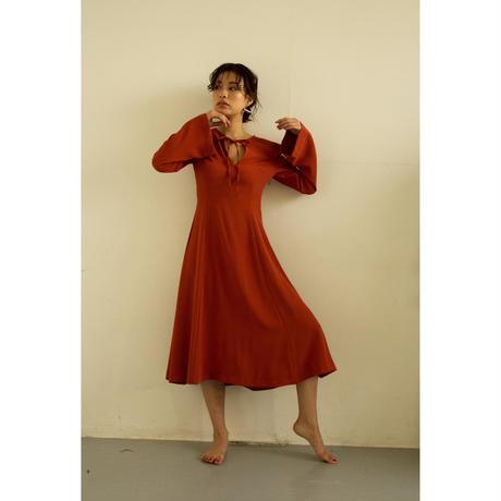 Ruffle Cut Shoulder A Line Dress (Beige/Copper)(ds075)