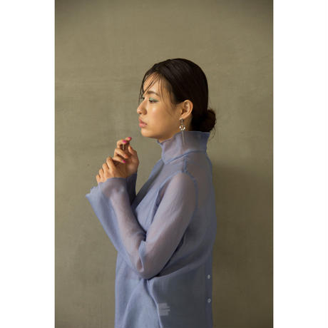 Sax Blue See-through Shirt & Inner (tp225)