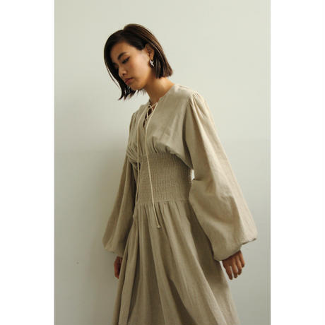"【""little $uzie"" Original】Lace Up Balloon Sleeves Shearing Dress (ls011)"