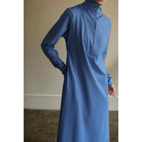 Hi-neck Zip Jersey Dress(ls14252D)