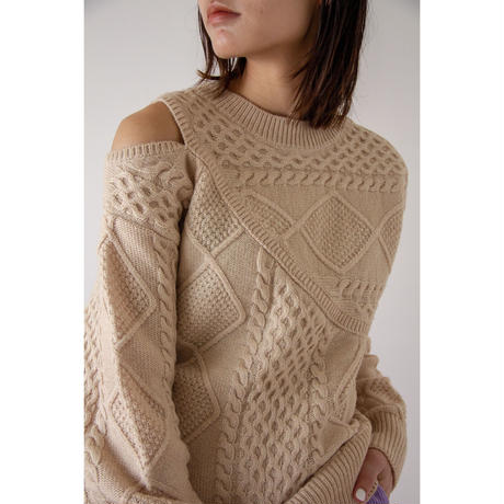 Cut  Out  Shoulder Cable Knit (ls073)
