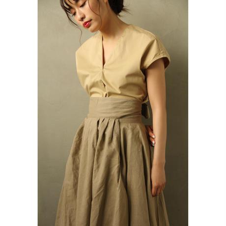 Linen Flare Apron Skirt (Khaki/Black)(bt179)