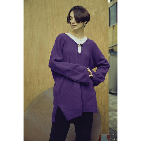 Angola Double  V-neck Pullover (ls070)