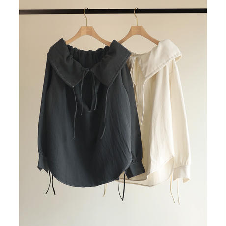 Cotton Doubleface Gather Collar Blouse(ls198T)