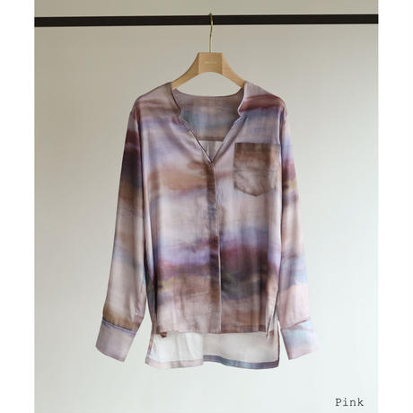 Watercolor Print Pajamas Shirt(ls11206T)