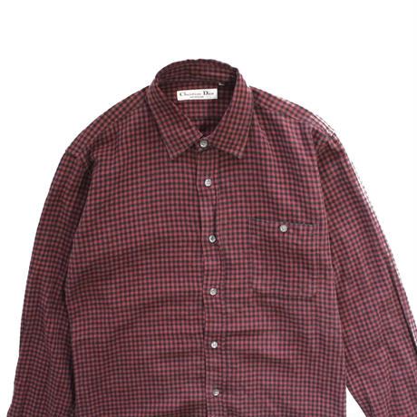 【USED】CHRISTIAN DIOR CHECK SHIRTS