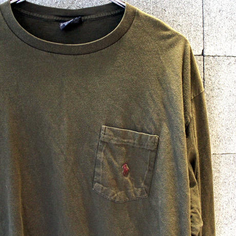 【USED】RALPH LAUREN POCKET LS TEE MADE IN USA