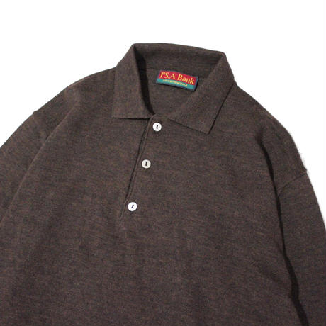 【USED】MADE IN ITALY LS KNIT  POLO SHIRTS