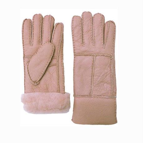羊毛皮100%  ムートン レディースファー手袋(ピンク)-5営業日以内に発送-