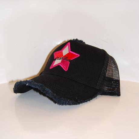 【StarLean】5パーツ メッシュキャップ ブラック×ピンク