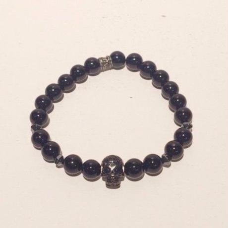 【mancino】天然石スカルブレスレット ブラック