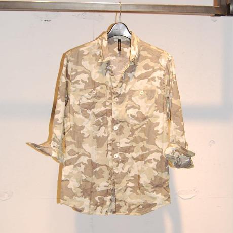 【Custom Culture】七分袖カモ柄リネンシャツ カーキ