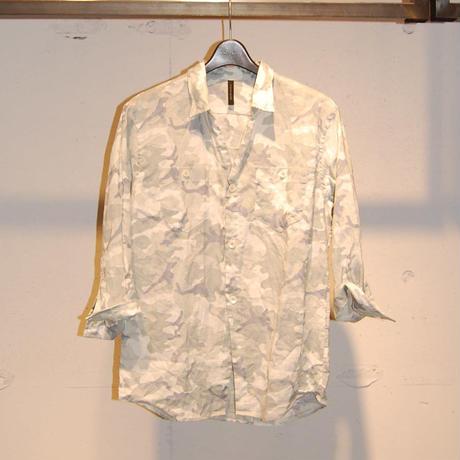 【Custom Culture】七分袖カモ柄リネンシャツ グレー