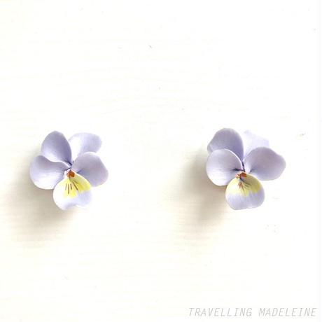 VINTAGE Ceramic Lavender Violet Clip Earrings セラミック 薄紫 スミレ クリップイヤリング(W18-323E)