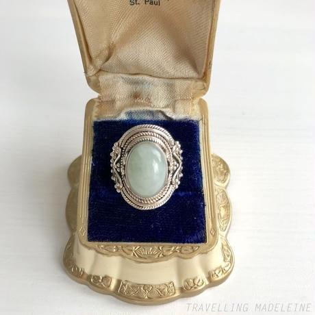 VINTAGE Oval Moss Green Jade Silver Ring オーバル モスグリーン 翡翠 シルバーリング(Sp19-62R)