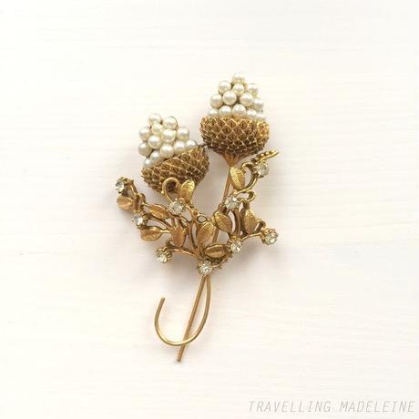 パール アーティチョーク ゴールドブーケ ブローチ Pearl Artichoke Golden Branch Brooch (Su18-170B)