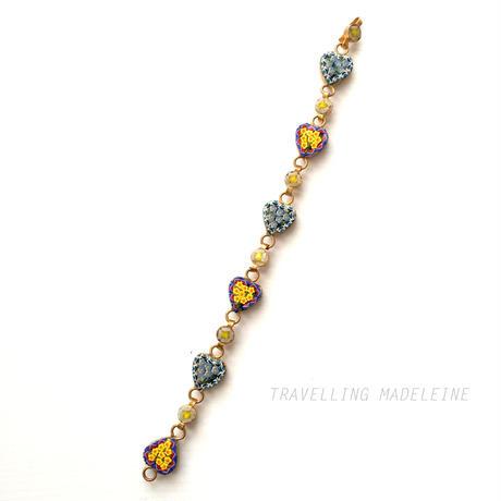 マイクロモザイク ハート型 小花柄 ブレスレット  Micromosaic Heart Bracelet(A17-103Br)