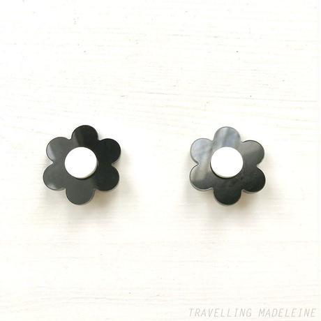 1960's Plastic Mary Quant Style Flower Clip Earrings マリー・クヮント風 プラスチック お花 クリップイヤリング(Sp19-2E)