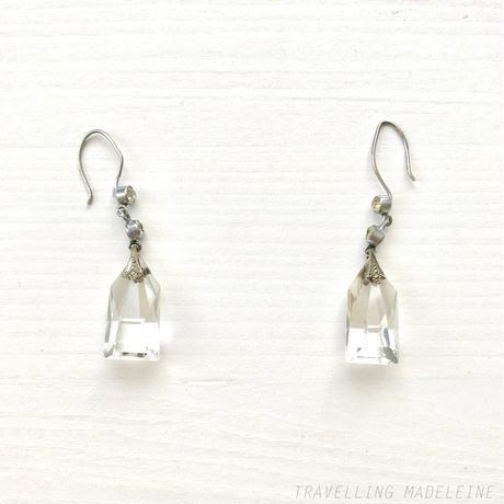 ART DECO Clear Rectangular Glass Pierced Earrings クリア 長方形グラス ピアス(Su19-236E)