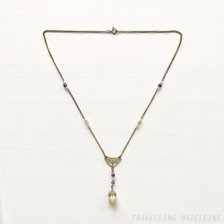 1900-10's Suffragette Coloured Pearl Drop Necklace サフラジェットカラー パールドロップ ネックレス(W18-279N)