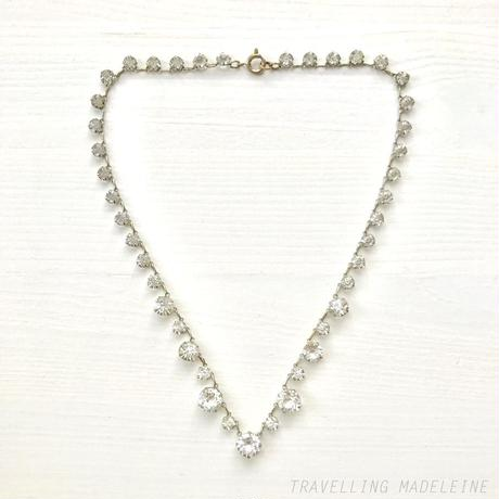 1940's Clear Round Glass Open Backed Necklace クリアグラス オープンバック ネックレス(A19-55N)
