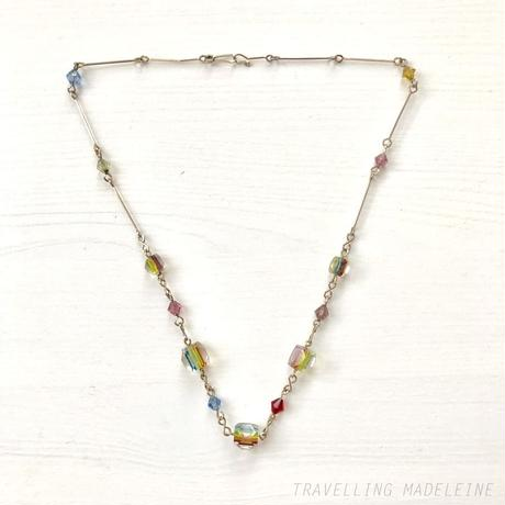 ART DECO Rainbow Cube Glass Necklace レインボー キューブ グラス ネックレス(W18-199N)