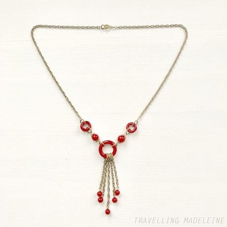 1930's Red Glass Rings & Tassel Necklace レッドグラス リング&タッセル ネックレス(A19-156N)