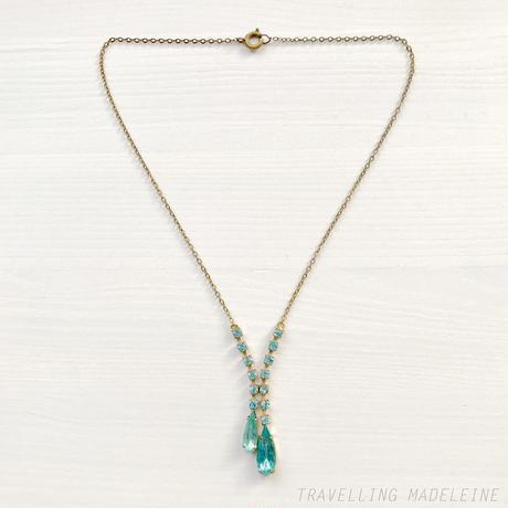 VINTAGE Aqua Blue Glass Tassel Necklace アクアブルー ドロップグラス タッセル ネックレス(Sp18-2N)