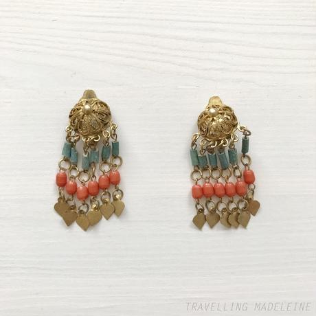 ART DECO Egyptian Revival Pink & Blue Tassel Clip Earrings エジプトスタイル ピンク&ブルータッセル クリップイヤリング(Su18-298E)