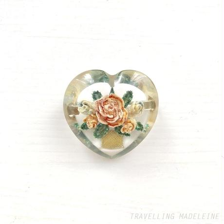 1930's Clear Lucite Reversed Carved Heart Red Rose Brooch ルーサイト ハート インタリオ ローズ ブローチ(Sp19-34B)