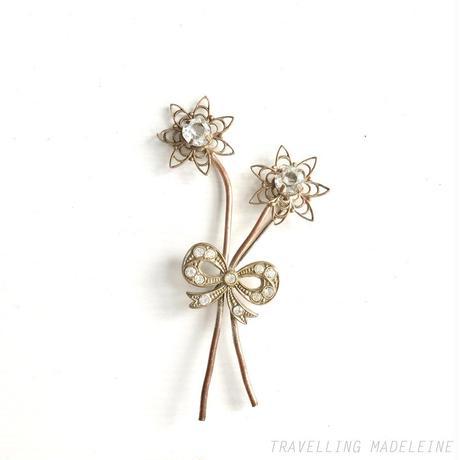 1940's Rhinestone Copper Flowers & Ribbon Bouquet Brooch ラインストーンのお花&リボンブーケ ブローチ(Sp19-102B)