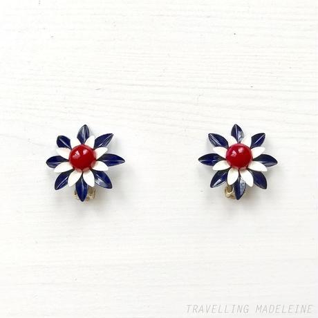 1950-60's Enamel Red, Blue & White Flower Clip Earrings エナメル トリコロールのお花 クリップイヤリング(Sp19-35E)
