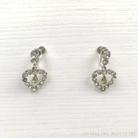 KREMENTZ 1940-50's Rhinestone Heart Drop Screw Earrings ラインストーン ハート ドロップ スクリューイヤリング(A19-121E)