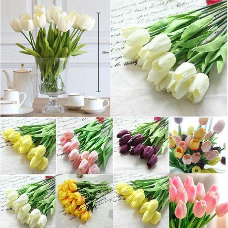 柔らかい素材のチューリップ造花 ブライダル、ブーケに!ホワイト、ピンク、オレンジ、イエロー、パープル