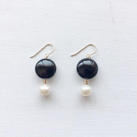 淡水真珠:pearl×coin stone pierce[K14GF]