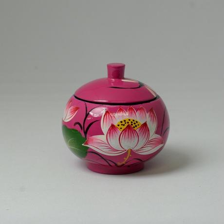 ベトナム製 小物入れ漆器 (小)【蓮柄・ピンク】
