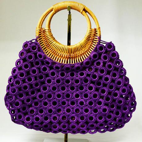 ベトナム製 ハンドメイド リング編み ハンドバッグ 【紫】