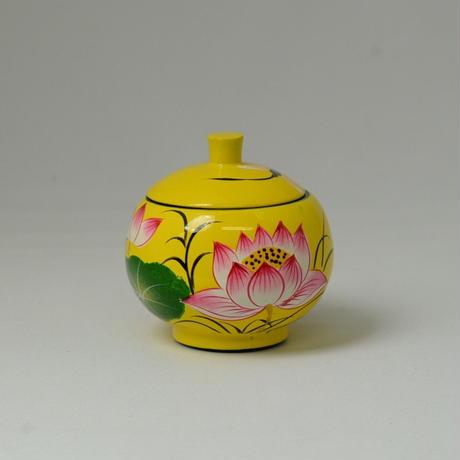 ベトナム製 小物入れ漆器 (小)【蓮柄・黄】