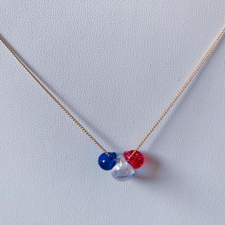【N-035】トリコロール ガラス ネックレス
